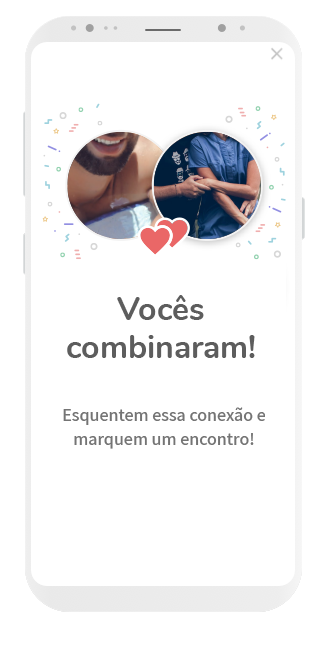 tela app ysos de combinação entre perfil de casal e perfil de homem