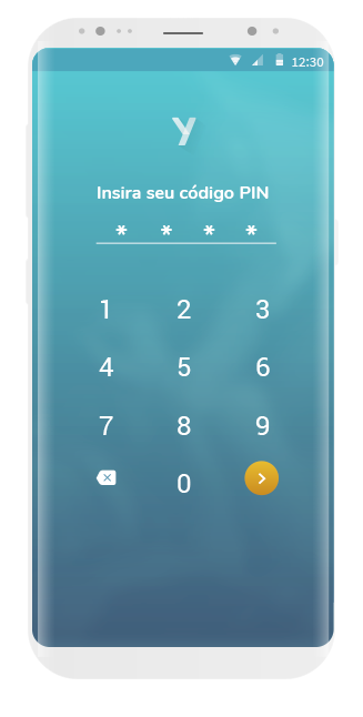 tela app ysos, pinde segurança - bloqueio de tela