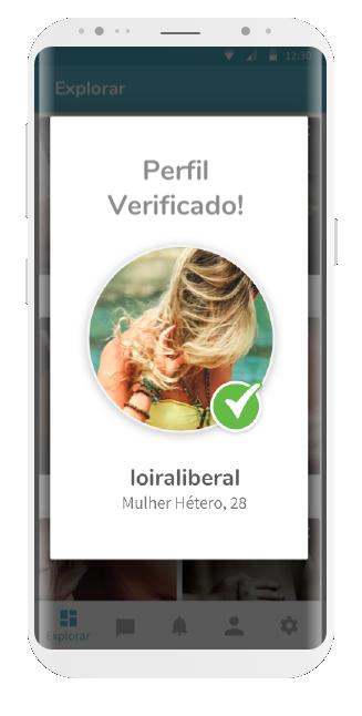 tela app ysos, com perfil de mulher verificado via número de celular