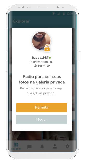 tela app ysos, com um pedido para ver galeria privada com botões na opção de aceitar ou declinar